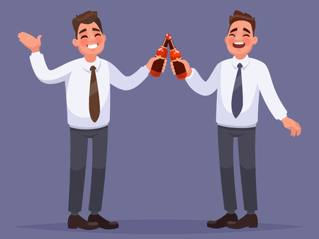 Office workers have a rest and drink a beer. Corporate party. Vector illustration in cartoon style