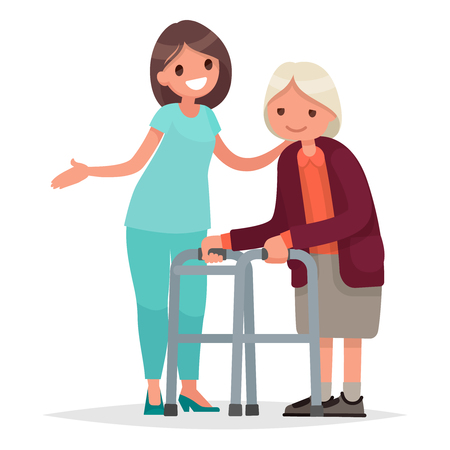 Nurse helps her grandmother to go to the walker. Caring for the elderly. Vector illustration in a flat style Stock Vector - 73279715