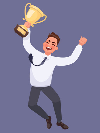 Winning at work. Businessman with strong emotions on his face is jumping holding the cup winner. Vector illustration in a cartoon style