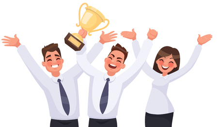 Team victory. Joyful group of people holds a cup and celebrates success. Vector illustration in cartoon style Illustration