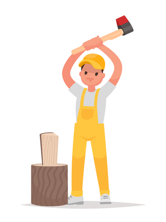 Man chops wood on a white background. Vector illustration in a flat style