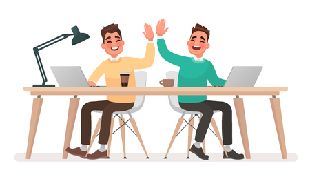 Teamwork. Office workers give five to each other. The concept of a successfully performed task. Vector illustration in cartoon style