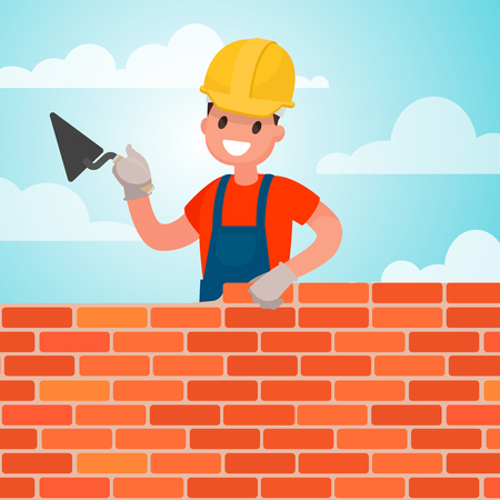 mason: Worker builds a wall, brickwork. Work of the builder. Vector illustration in a flat style