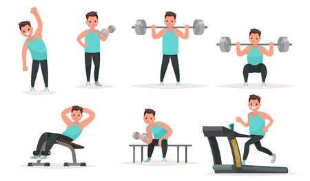 Set of sports character. The man in the gym is warming up and doing exercises on the simulators and with dumbbells and a barbell. Vector illustration in a flat style Ilustrace