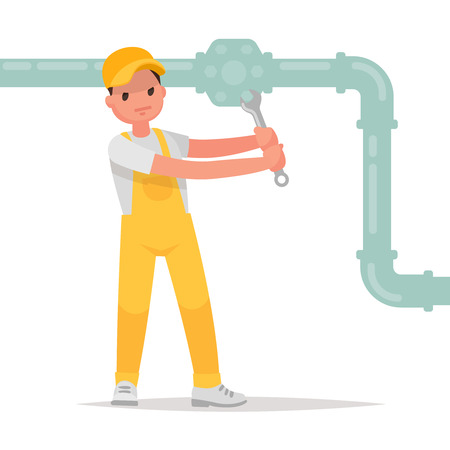Man twists a nut with a wrench. Plumber at work. Vector illustration in a flat style