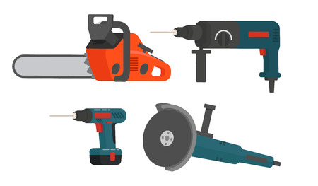 Set of electrical tools for repair and construction. Chainsaw, screw gun, electric grinding machine, drill