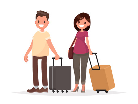 Happy couple with luggage on white background. A man and a woman with suitcases. Vector illustration in a flat style Illusztráció