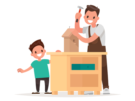 father and child: Father and son make a birdhouse. Vector illustration in a flat style Illustration