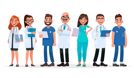Doctors. Team of medical workers on a white background. Hospital staff. Vector illustration in cartoon style