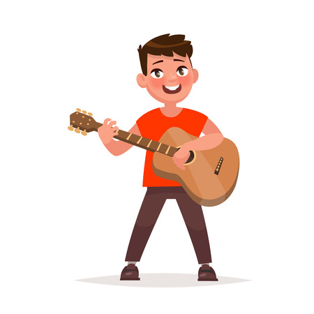 Boy is playing the guitar. Musical performance. Vector illustration in cartoon style
