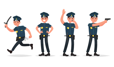 Set of policeman in different poses. Vector illustration in a flat style