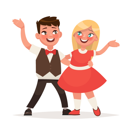 Boy and a girl are dancing on a white background. Couple of small dancers.