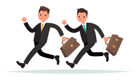 Concept of competition in business. Two men are running. Who is faster. Illustration