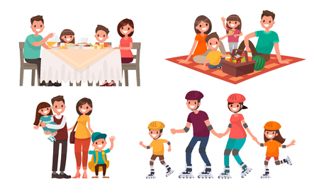 Set of family leisure. Lunch at home, picnic in nature, walk in outdoor, roller skating. Vector illustration in a flat style. Vettoriali