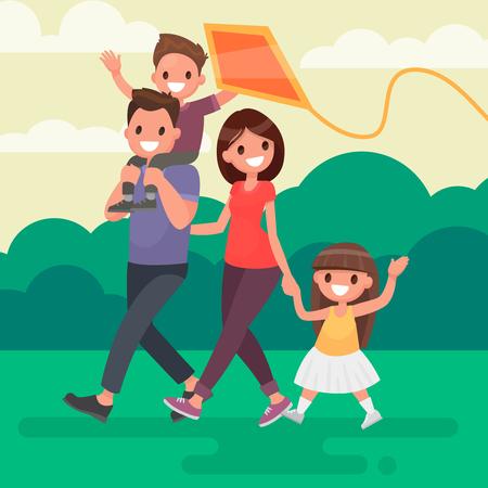 Szczęśliwa rodzina idzie na zewnątrz i uruchamia kania. Ilustracja wektora w płaskim stylu. Ilustracje wektorowe