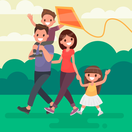Une famille heureuse se promène à l'extérieur et lance un cerf-volant. Illustration vectorielle dans un style plat. Vecteurs
