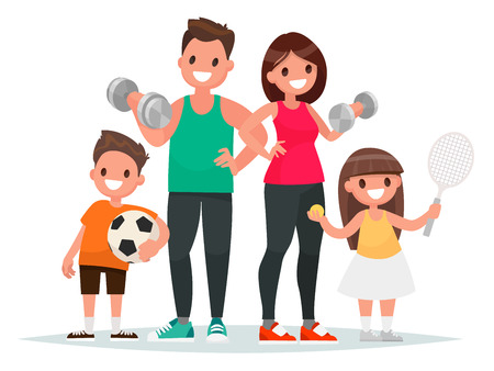 Sport family. Dad, mother, son and daughter lead a healthy lifestyle and are engaged in fitness and various sports. Vector illustration in a flat style.