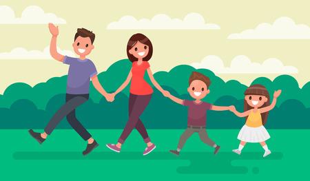 Famiglia divertente a piedi nel parco. Riposo alla natura. Illustrazione vettoriale in uno stile piatto.