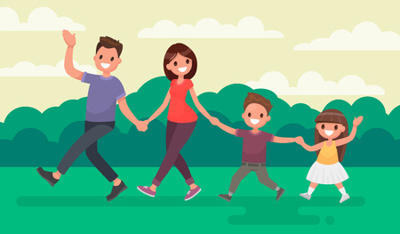 Fun family walking in the park. Rest at nature. Vector illustration in a flat style.