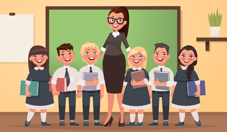 Teacher and pupils of primary school together in the classroom. Vector illustration in cartoon style. Illustration