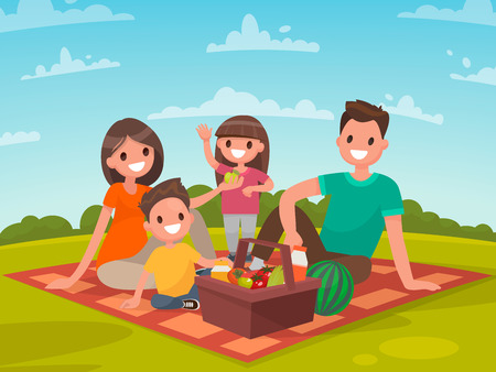 family: Happy family on a picnic. Dad, mom, son and daughter are resting in nature. Vector illustration in a flat style.