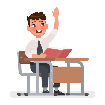 Schoolboy raises his hand for an answer. Vector illustration in cartoon style  イラスト・ベクター素材