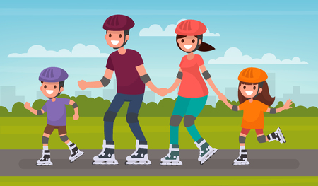 Happy family skating on roller skates in the park. Vector illustration in a flat style Иллюстрация