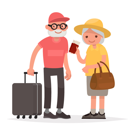 Elderly couple of tourists.
