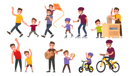 Paternity. Father and son walk, roll on roller and bicycles, play musical instruments, perform exercises. Illustration