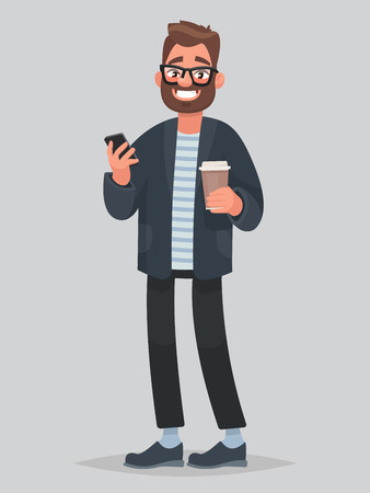 Handsome man holding coffee and phone in hands. Vector illustration in cartoon style