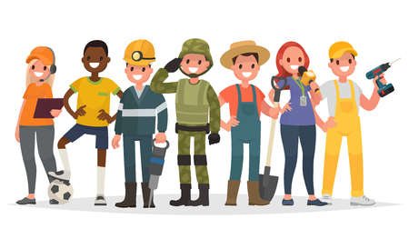 People of different professions. Military, journalist, miner, farmer and others.