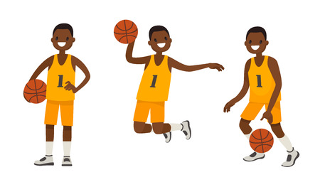Set of an African American basketball player in various poses. Vector illustration in a flat style