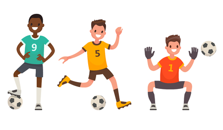 Set of characters of soccer player. Vector illustration in a flat style Illustration