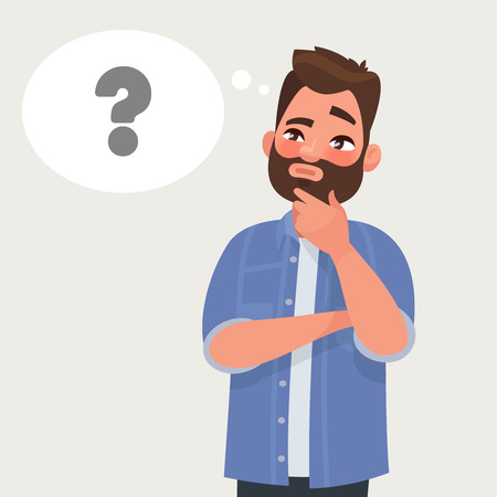 Man is thinking. Question mark. Vector illustration in cartoon style