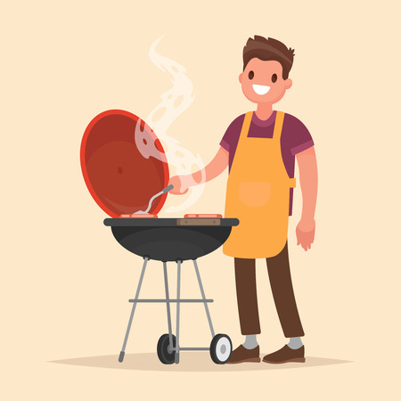 Man is cooking a barbecue grill. Fry meat and sausages on fire. Vector illustration in flat style