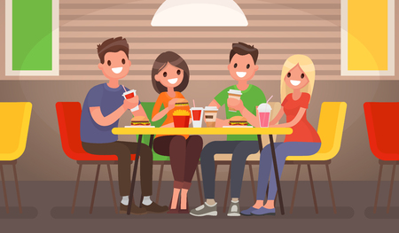 business woman: Company of young people is eating at a fast food cafe. Vector illustration in a flat style