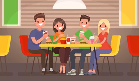 Het gezelschap van jongeren eet in een fastfoodcafe. Vector illustratie in een platte stijl