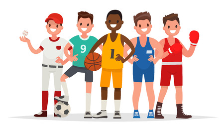 Summer sports. Set of players in baseball, basketball, soccer, Greco-Roman wrestling and boxing. Vector illustration in a flat style