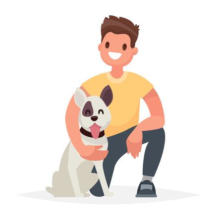Hombre con el perro Cuidando a un amigo de cuatro patas. Ilustración de vector en un estilo plano