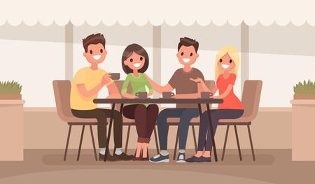 Vrienden zitten aan een tafel in een zomercafé. Vector illustratie in een platte stijl