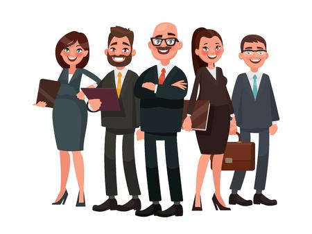 Geschäftsleute werden von einem Führer geführt. Vektorillustration in der Karikaturart