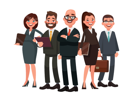 Les gens d'affaires sont dirigés par un chef. Illustration vectorielle en style cartoon
