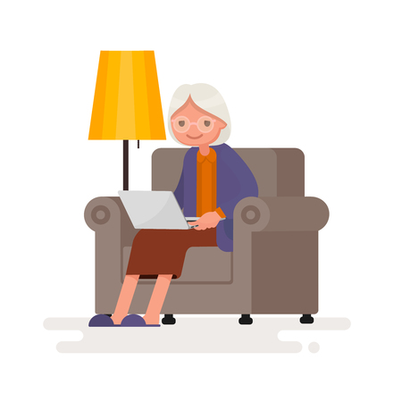 Grandmother with the computer sits in an armchair. Vector illustration in a flat style Illustration