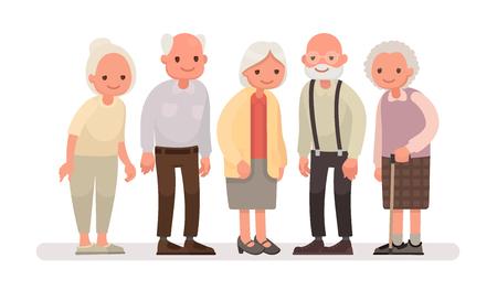 Persone anziane Nonni su uno sfondo bianco. Illustrazione vettoriale in uno stile piatto Vettoriali