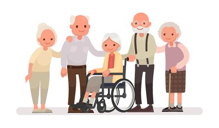 Grupo de personas de edad en un fondo blanco. Una anciana está sentada en una silla de ruedas. Ilustración vectorial en un estilo plano
