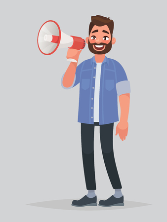 Joyful man speaks into a shout or a megaphone. The announcement of good news. Vector illustration in cartoon style