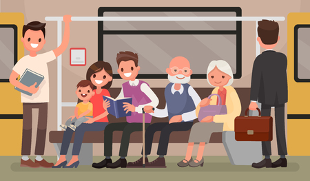 Passengers of the underground. People and public transport. Vector illustration in a flat style