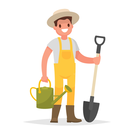Hombre feliz jardinero con una pala y una regadera en un fondo blanco. Ilustración de vector en un estilo plano