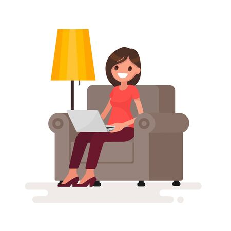 Woman with laptop sitting in chair. Work at home via the Internet. Vector illustration in a flat style