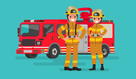 Fire service workers man and woman